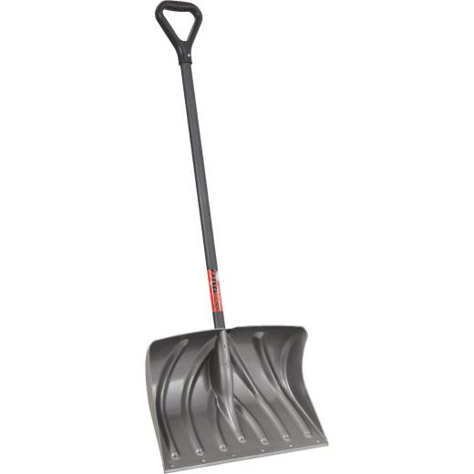 Suncast 20 In. Graphite Snow Shovel & Pusher with 38 In. Steel Handle